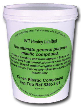 WT Henley Green Plastic Compound 1Kg Tub